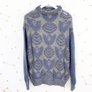 Anthro • Blue Floral Knitted Turtleneck Sweater M